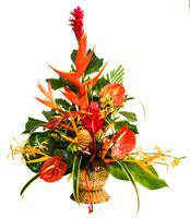 Bloemstuk met Braziliaanse lelie, anthuriums, palulu, bokkepoot, orchideeën en ginger